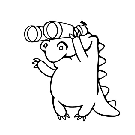 cute dragon looking through binoculars.