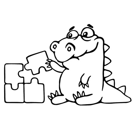 cute dragon is played and assemble the puzzle