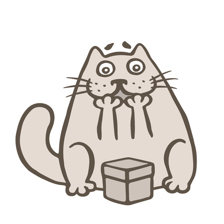 Happy cat and gift box. Vector illustration. Cute cartoon character.