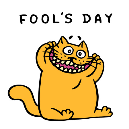 Cute fat orange cat makes a funny face. April holiday is a fools day. Vector Illustration.