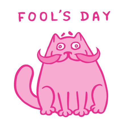 Cartoon fat pink cat with a big mustache. 1 April holiday. Fools day. Vector Illustration.