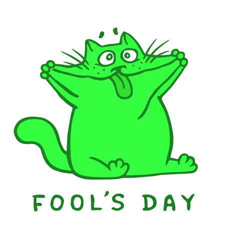 Cartoon fat green cat makes a crazy face and shows tongue. 1 April holiday. Fool's day. Vector Illustration.