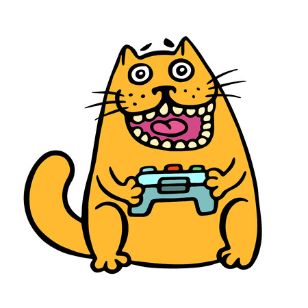 Cat keeps the joystick from the console. Cute emoticon character. Cheerful pet cool video gamer. Vector illustration.