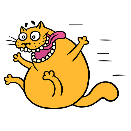 Cute mad cat flies with joy. Vector Illustration.