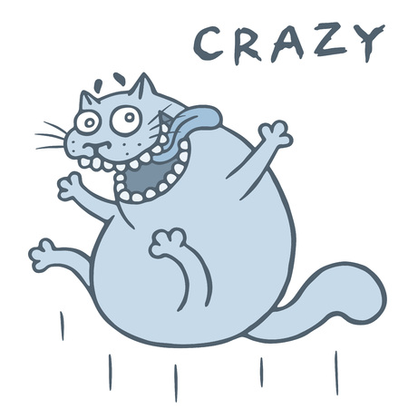 Crazy cat jumps from happiness. Vector illustration. Cartoon animal character.