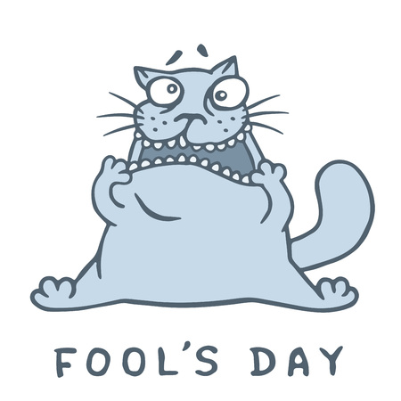 Funny fat cat stretching out his mouth for April fools day vector illustration.