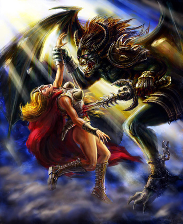 Winged demon pierces a warrior girl with a sword. Colorful picture in the genre of fantasy.