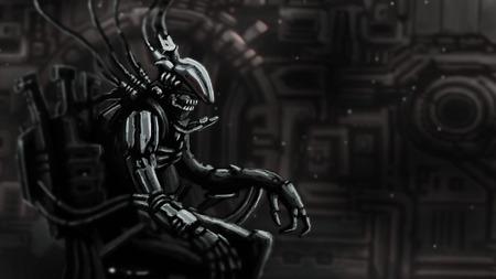Le pilote de Cyborg est assis en costume sur le trône de fer. Couverture de personnage original de science-fiction. Banque d'images - 99773984