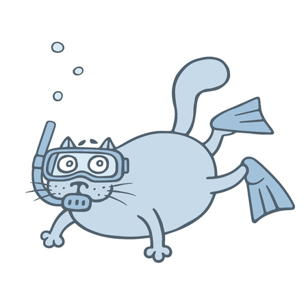 Cute diver cat. Cartoon animal character. Vector illustration.