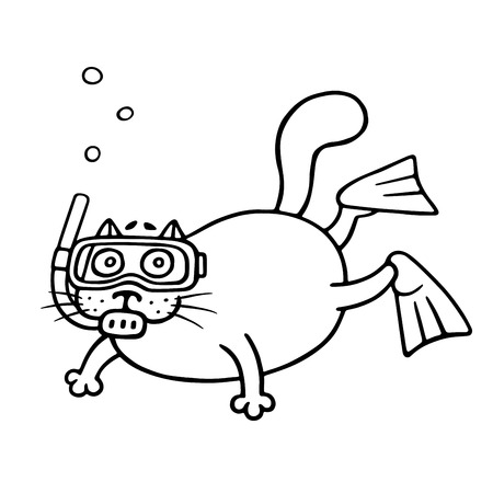 Cat with mask of a diver. Cute cartoon animal character. Vector illustration.