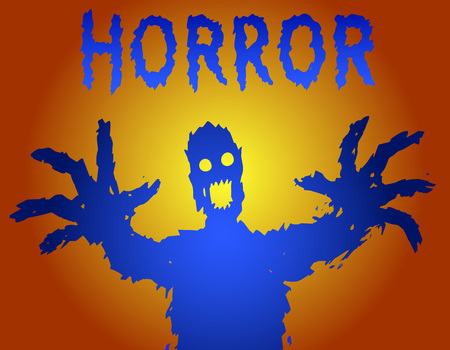 Zombie silhouette with glowing eyes draws his hands.   Scary halloween character Vector illustration. Illustration