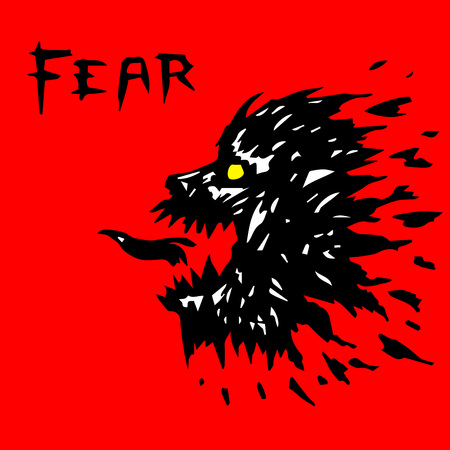 Angry werewolf head silhouette. Scary halloween character vector illustration