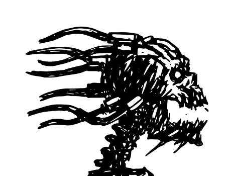 Screaming skull with wires on the back of the head. Vector illustration. Science fiction and horror.