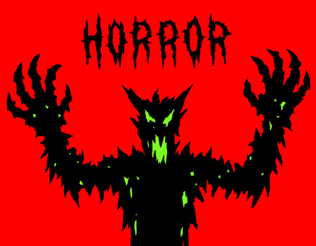 Angry monster silhouettes. The horror genre vector illustration.