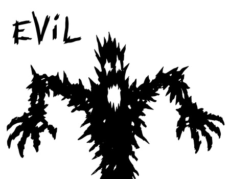 black evil demon silhouette with glowing eyes and mouth. vector illustration. Illustration