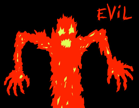 angry demon red silhouette. horror genre. vector illustration