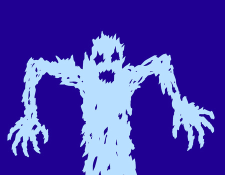Scary ghost silhouette draws his hands. The horror genre character. Vector illustration.