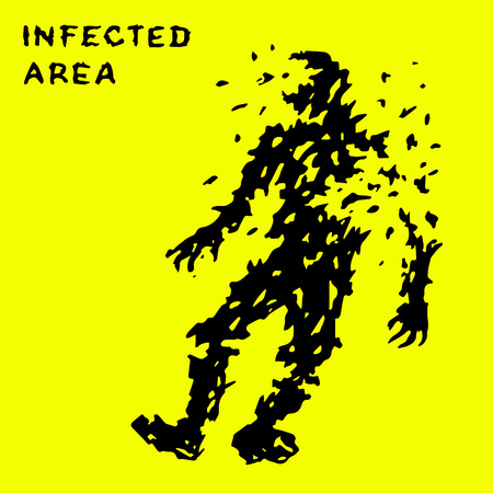 Zombie falls from the queue of a large-caliber machine gun. Infected zone sign. Vector illustration.
