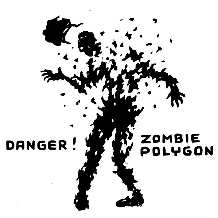 Danger zombie polygon sign. Shooting from a machine gun. The horror genre. Vector illustration. 일러스트