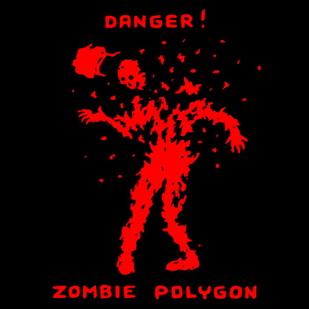 Danger zombie polygon. Vector illustration. Scary character silhouette. Black background. Ilustração
