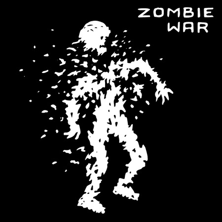 Zombie war sign. Scary character silhouette. The horror genre. Black color background. Vector illustration.