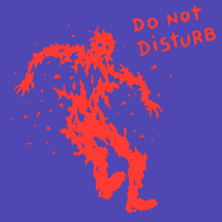 do not disturb text. zombie soldier silhouette. vector illustration. horror genre.