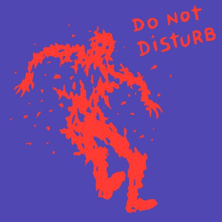 do not disturb text. zombie soldier silhouette. vector illustration. horror genre.
