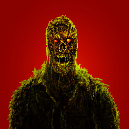 Angry zombie with red eyes. Red color background. Horror illustration.