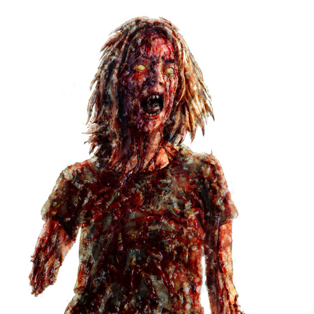Screaming zombie woman illustration. Genre of horror. Scary monster character.