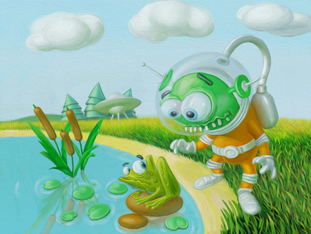 Cute alien flew to the planet earth and met the frog. Cartoon illustration.