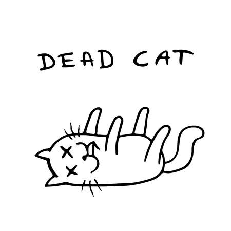 Pauvre chat mort. Illustration vectorielle. Mauvais jour. Solitude et tristesse. Personnage dramatique de dessin animé mignon. Vecteurs