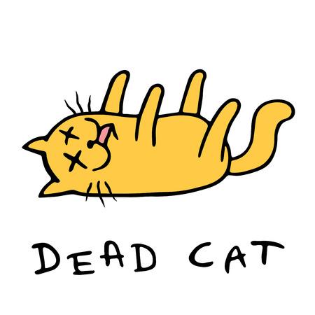 Le chat de dessin animé a perdu connaissance. Solitude et tristesse. Caractère animal mignon. Illustration vectorielle.