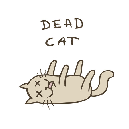 Cute cat was poisoned and died. Bad day. Cartoon character. Vector illustration.