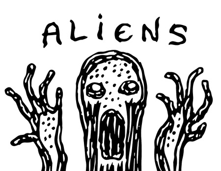 The ugly jelly-like alien. Vector illustration. Science fiction. Original character the astronaut invader.