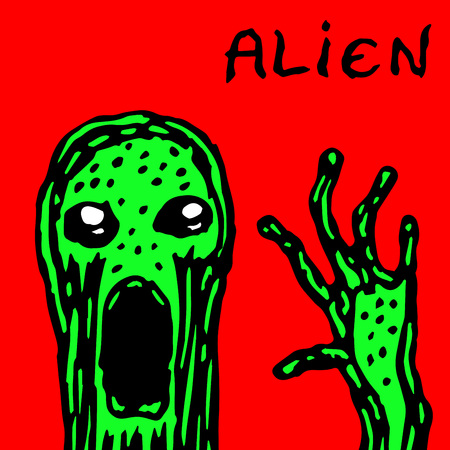 The kidnapper from distant space. Vector illustration. Science fiction. Alien invasion. Illustration