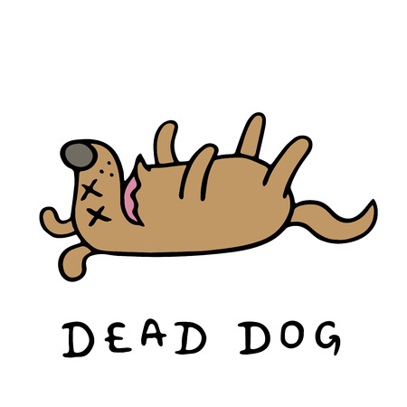Poor dead dog. Vector illustration. Bad day. Loneliness and sadness. Cute cartoon dramatic animal character.