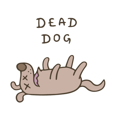 Cute dog was poisoned and died. Bad day. Cartoon animal character. Vector illustration.
