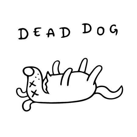 Le chien de dessin animé a perdu connaissance. Solitude et tristesse. Caractère animal mignon. Illustration vectorielle.