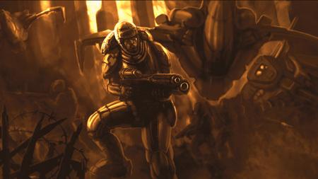 Soldato del futuro in armatura. Illustrazione di fantascienza. Colori arancioni. Archivio Fotografico - 100856225