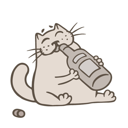 Cartoon cat holding a glass bottle of wine and drinks from it vector illustration