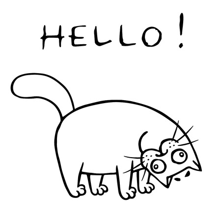 Cat rejoices that you are back and greet. Vector illustration. Cute cartoon pet.