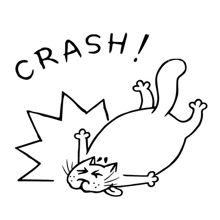 The cat hurried and fell. Shock and boom. Vector illustration. Funny cartoon animal character.
