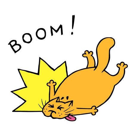 Funny fat cat fell with a crash. Big boom. Vector illustration. Cartoon animal character. Illustration