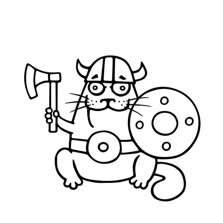 Cat viking with an ax and shield. Funny cartoon pet. Vector illustration. Vectores