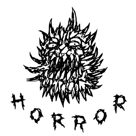 Scary prickly monster with toothy mouth. Angry character in horror genre. Vector illustration.
