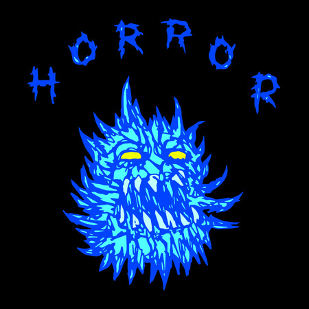 Screaming prickly demon with glowing eyes. The horror genre. Scary halloween character. Vector illustration