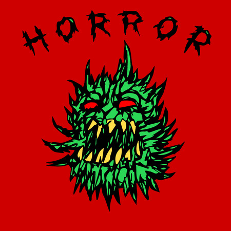 angry green prickly ghost. horror genre. vector illustration 矢量图像