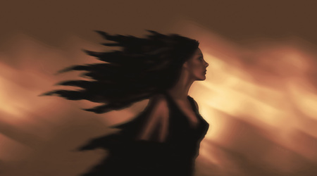 Brunette in a dress on the background of fire. Fantasy illustration.