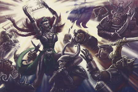 Woman magic warrior of light against orcs army. Colourful picture in the genre of fantasy.