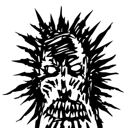 Dreadful demon face. Angry character in horror genre. Vector illustration.